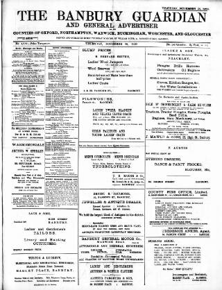 cover page of Banbury Guardian published on November 25, 1920