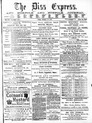 cover page of Diss Express published on February 25, 1881