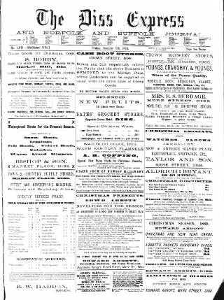 cover page of Diss Express published on December 13, 1889