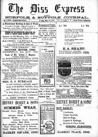 cover page of Diss Express published on May 16, 1919