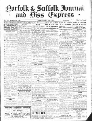 cover page of Diss Express published on October 19, 1945