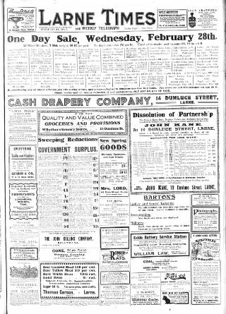 cover page of Larne Times published on February 24, 1923
