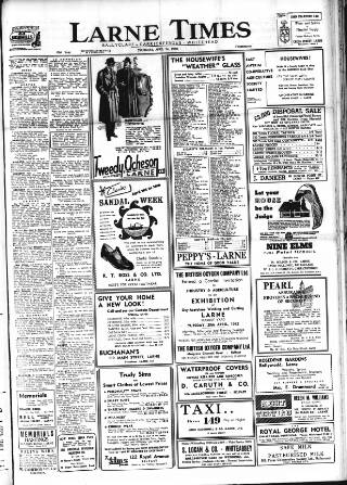cover page of Larne Times published on April 24, 1952