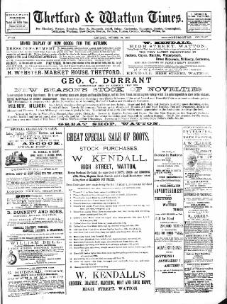 cover page of Thetford & Watton Times and People's Weekly Journal. published on October 19, 1895