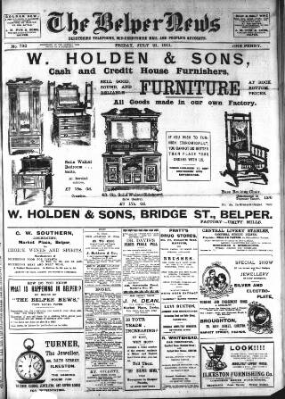 cover page of Belper News published on July 21, 1911