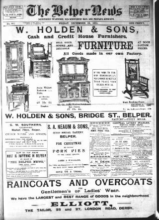 cover page of Belper News published on December 15, 1911