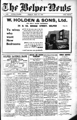 cover page of Belper News published on May 17, 1935
