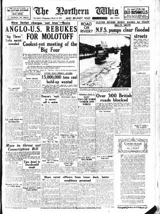 cover page of Northern Whig published on March 19, 1947
