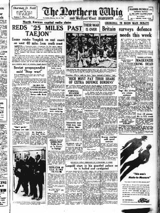 cover page of Northern Whig published on July 24, 1950