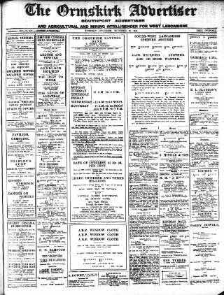 cover page of Ormskirk Advertiser published on September 26, 1940