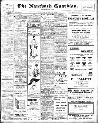 cover page of Nantwich Guardian published on April 18, 1916