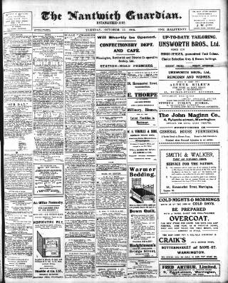 cover page of Nantwich Guardian published on October 17, 1916