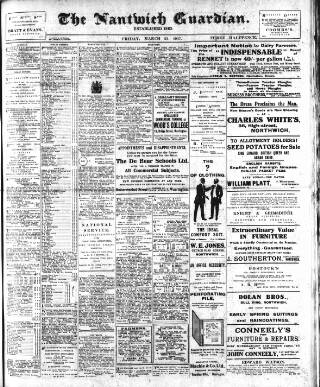 cover page of Nantwich Guardian published on March 23, 1917