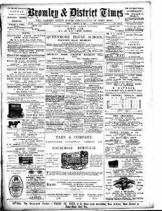 cover page of Bromley & District Times published on October 19, 1894