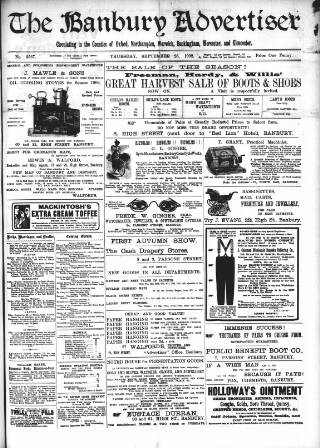 cover page of Banbury Advertiser published on September 25, 1902