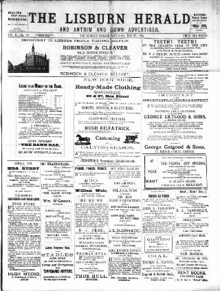 cover page of Lisburn Herald, and Antrim and Down Advertiser published on May 27, 1893