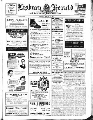 cover page of Lisburn Herald, and Antrim and Down Advertiser published on February 27, 1954