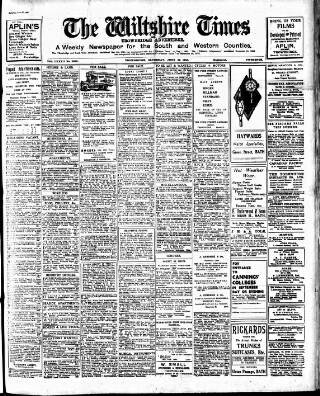 cover page of Wiltshire Times and Trowbridge Advertiser published on June 21, 1930
