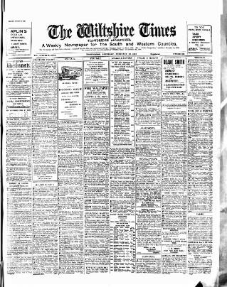cover page of Wiltshire Times and Trowbridge Advertiser published on February 20, 1932