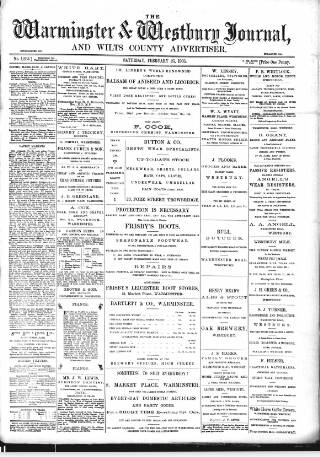 cover page of Warminster & Westbury journal, and Wilts County Advertiser published on February 25, 1905