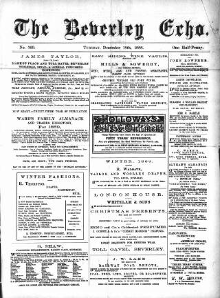 cover page of Beverley Echo published on December 18, 1888