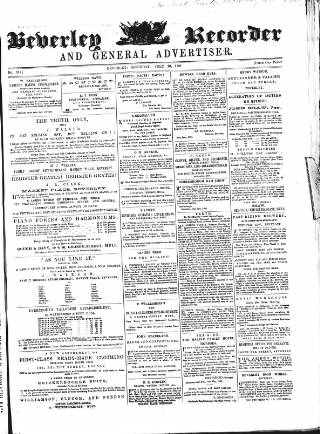 cover page of Beverley and East Riding Recorder published on July 20, 1861