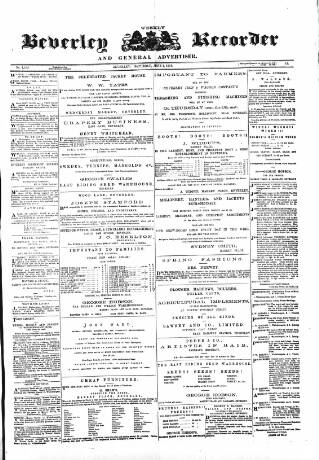 cover page of Beverley and East Riding Recorder published on June 1, 1878