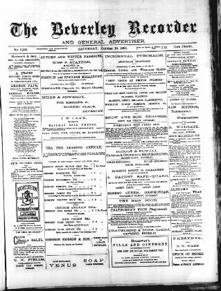 cover page of Beverley and East Riding Recorder published on October 19, 1895