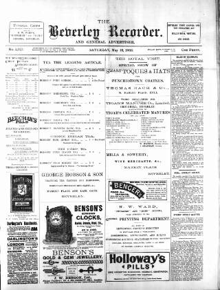 cover page of Beverley and East Riding Recorder published on May 16, 1903