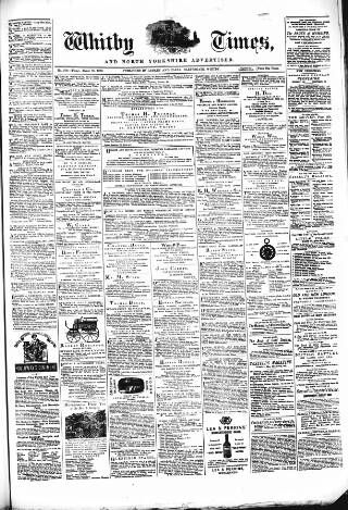 cover page of Whitby Times, and North Yorkshire Advertiser published on March 21, 1873
