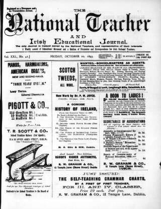 cover page of National Teacher, and Irish Educational Journal (Dublin, Ireland) published on October 20, 1893
