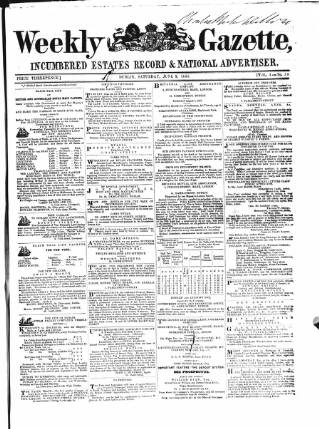 cover page of Weekly Gazette, Incumbered Estates Record & National Advertiser (Dublin, Ireland) published on June 9, 1855