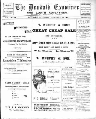 cover page of Dundalk Examiner and Louth Advertiser. published on February 20, 1904