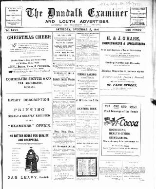 cover page of Dundalk Examiner and Louth Advertiser. published on December 17, 1910