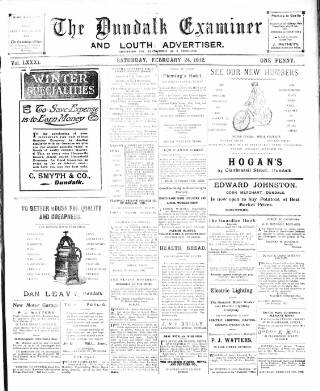 cover page of Dundalk Examiner and Louth Advertiser. published on February 24, 1912