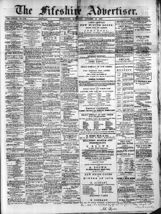 cover page of Fifeshire Advertiser published on October 19, 1878