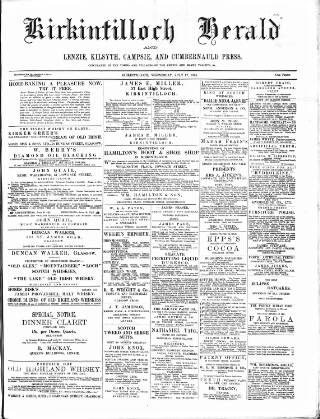 cover page of Kirkintilloch Herald published on July 17, 1895