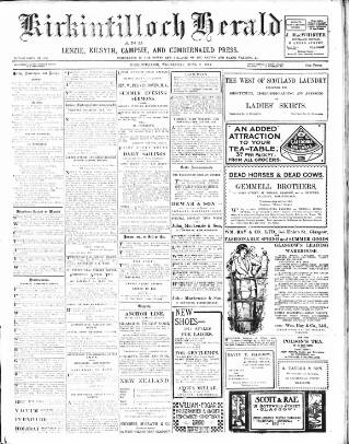 cover page of Kirkintilloch Herald published on June 3, 1914