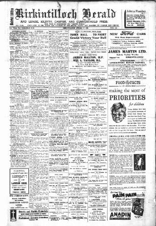 cover page of Kirkintilloch Herald published on October 17, 1945