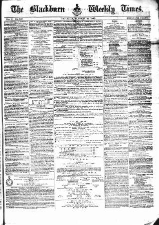 cover page of Blackburn Times published on January 21, 1860