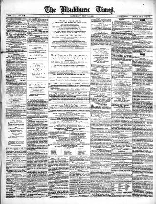 cover page of Blackburn Times published on May 9, 1863