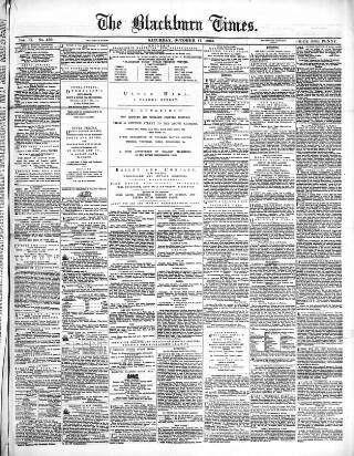cover page of Blackburn Times published on October 17, 1863
