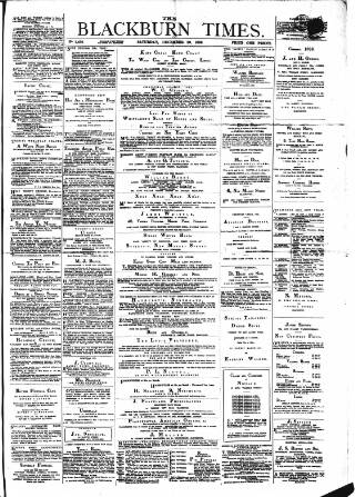 cover page of Blackburn Times published on December 29, 1883