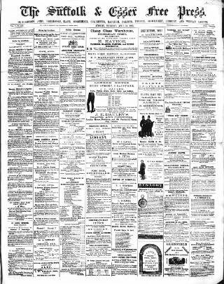 cover page of Suffolk and Essex Free Press published on April 24, 1862