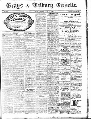 cover page of Grays & Tilbury Gazette, and Southend Telegraph published on June 1, 1901