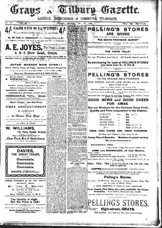 cover page of Grays & Tilbury Gazette, and Southend Telegraph published on December 10, 1904