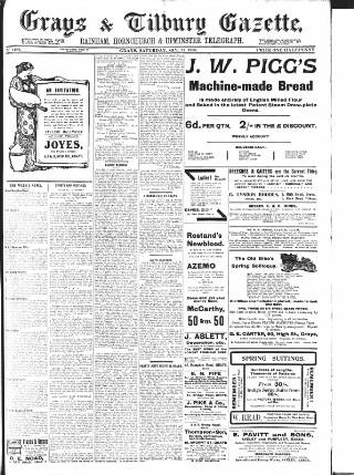 cover page of Grays & Tilbury Gazette, and Southend Telegraph published on October 17, 1908