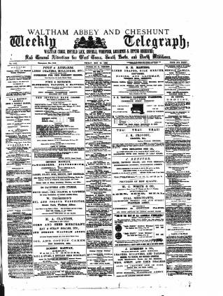 cover page of Waltham Abbey and Cheshunt Weekly Telegraph published on May 18, 1883