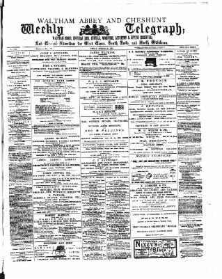 cover page of Waltham Abbey and Cheshunt Weekly Telegraph published on October 19, 1883