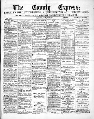 cover page of County Express; Brierley Hill, Stourbridge, Kidderminster, and Dudley News published on May 17, 1879